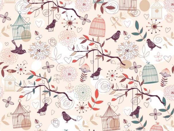 "Inna Ogando ""Pajaros Cages Autumn Pink Bird"""