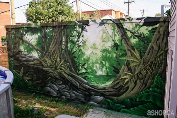 Ashop-a'shop-Graffiti-Street-Art-mural-forest-jungle-trees-tree-woods-garden-montreal