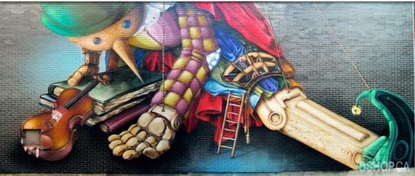 Ashop-a'shop-Graffiti-Street-Art-mural-Maison-de-la-Culture-pinocchio-puppet-pantin-marionette-toy-violin-montreal-hochelaga-maisonneuve