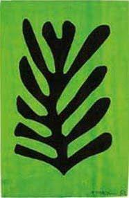 black leaf on green background matisse